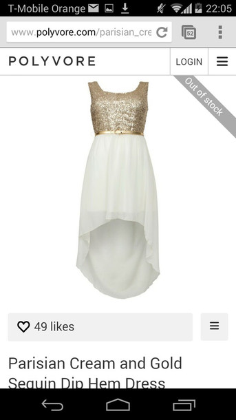 dress party dress gold gold sequins white dip hem shoes