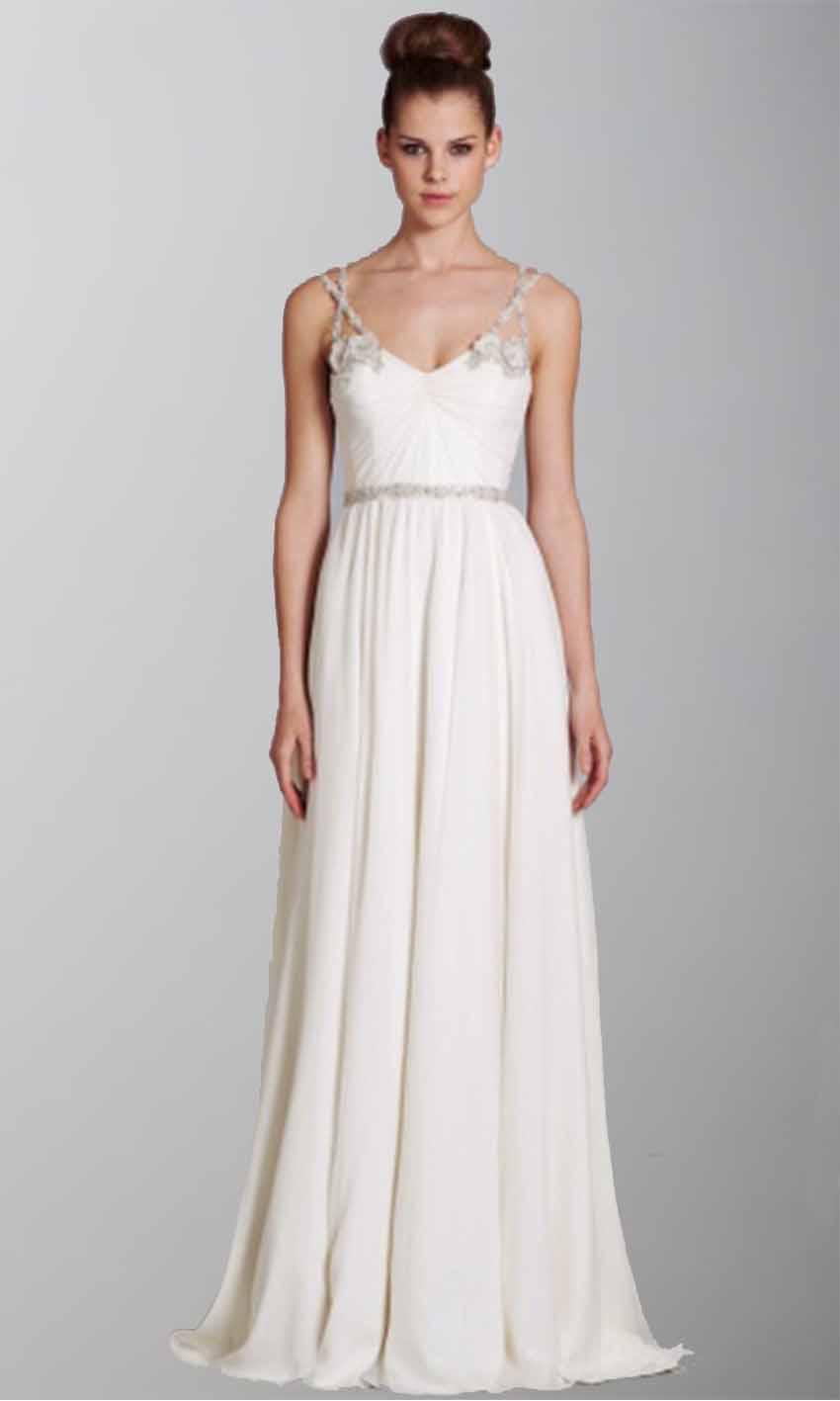 White Spaghetti Flowers Long Wedding Dresses KSP255