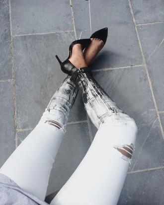 pants clanc white noir black pantalon déchirré shoes
