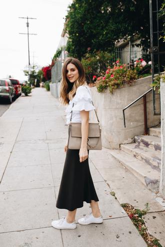 take aim blogger top skirt shoes bag sunglasses