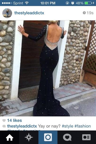 dress prom elegant back out prom dress black diamonds glitter