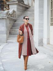 coat,tumblr,monochrome,monochrome outfit,rust,brown coat,dress,midi dress,stripes,boots,brown boots,sunglasses,bag,brown bag
