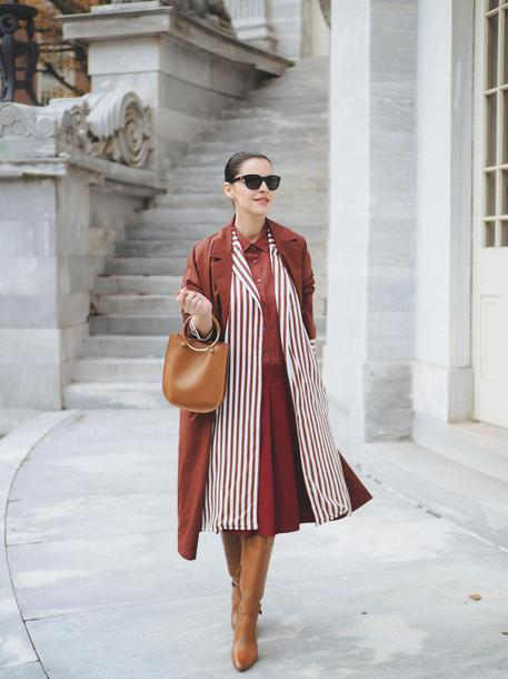 coat tumblr monochrome monochrome outfit rust brown coat dress midi dress stripes boots brown boots sunglasses bag brown bag