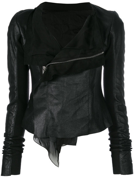 Rick Owens jacket leather jacket women leather black silk wool