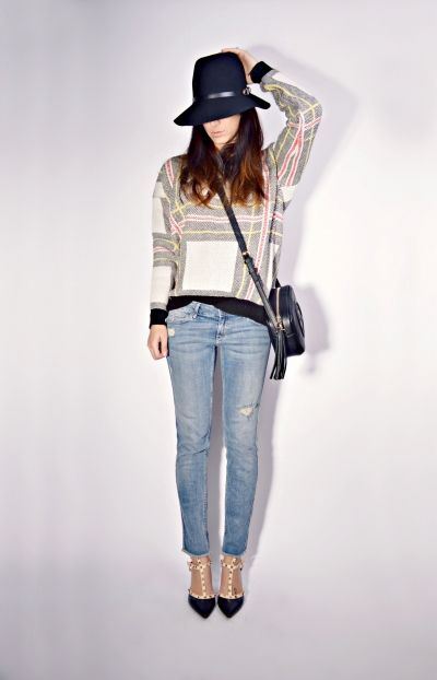 Fashion Colored Cross Line Sweater [FKBJ10274] - PersunMall.com