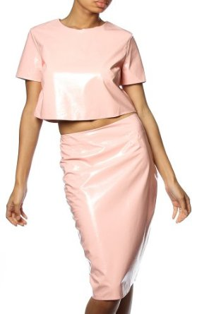 Pinkclubwear solid faux leather short sleeve crop top w/ pencil skirt set