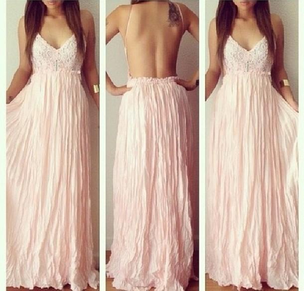 dress summer beautiful rose pink long long dress cute dress