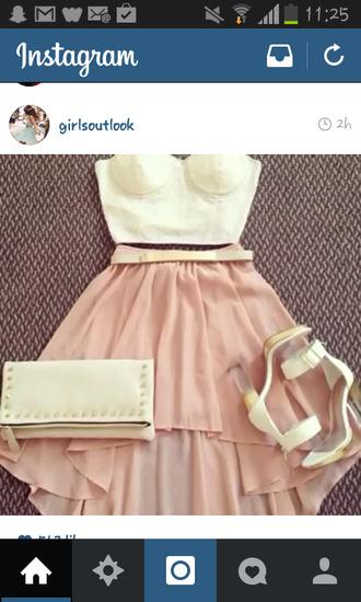 skirt pastel pink powder pink chiffon belted