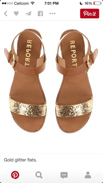 shoes sandals flats gold gold report shoes