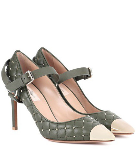 Valentino pumps leather green shoes