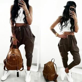 pants baggy pants tracksuit bottoms khaki pockets