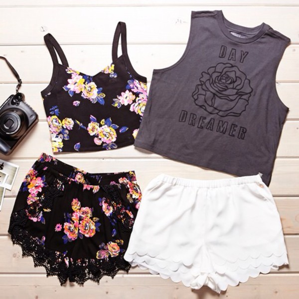 neon lace up flowered shorts floral tank top crop tops black vlack black bikini black leather skirt pretty little liars lace dress top