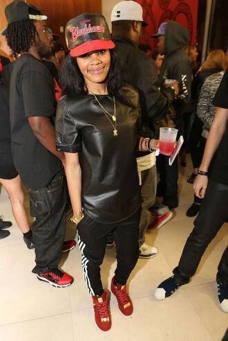 shirt adidas teyana taylor shoes pants leather shirt faux leather black t-shirt black leather shirt