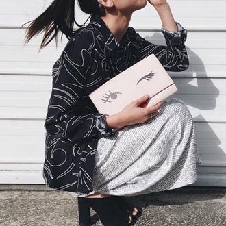 bag tumblr pink bag clutch skirt grey skirt shirt printed shirt black shirt mules thick heel block heels black mules shoes