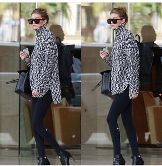 sweater jacket black and white gigi hadid