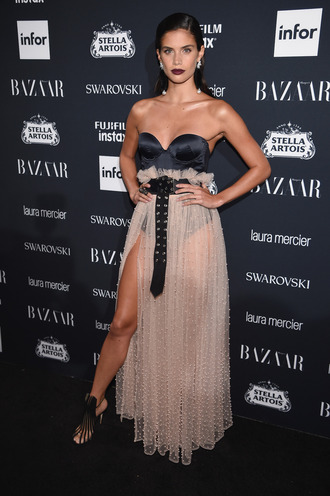 skirt bustier bustier dress tulle skirt sara sampaio model nyfw 2017 ny fashion week 2017 sandals belt top see through