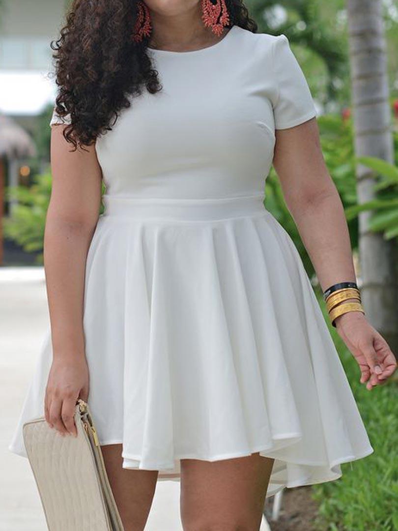 White Ruffle Chiffon Plus Size Skater Dress - Choies.com