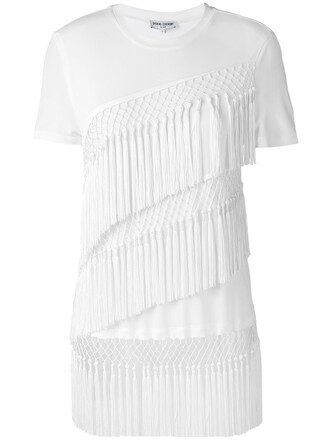 t-shirt shirt women fringes white top