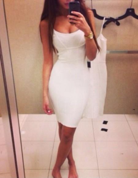 dress white dress bodycon dress white long dress brown hair long hair straight hair tanned skin tight dress