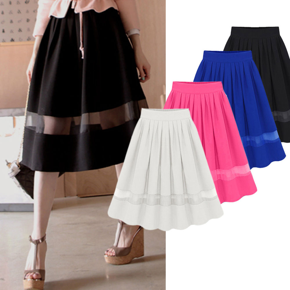 Chiffon High Waist A-Line Splice Flared Short Dress Pleated Midi Skirt