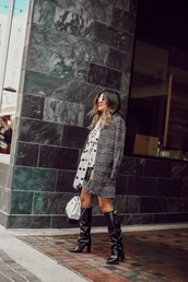 shoes,tumblr outfit,boots,black boots,knee high boots,coat,grey coat,plaid,plaid coat,bag,white bag,sunglasses,polka dots,blouse,slouchy boots