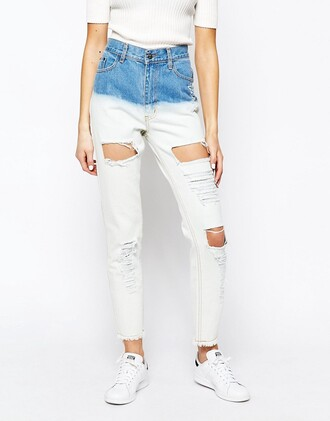 jeans asos denim dip dyed ripped jeans