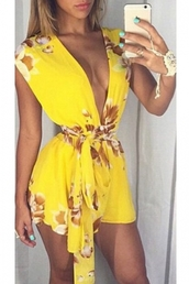 romper,yellow,floral,summer