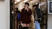 coat,red plaid,clueless,cher,90s style,red,plaid,skirt,hat