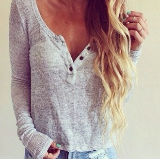 sweater grey blouse jumper long sleeves