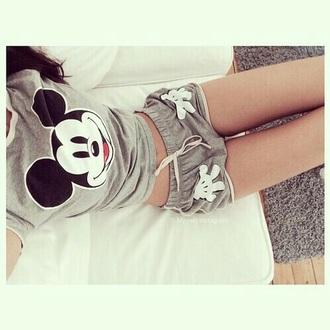 pajamas grey cute lovely pants midi skirt mickey mouse hoodies shorts shirt shoes
