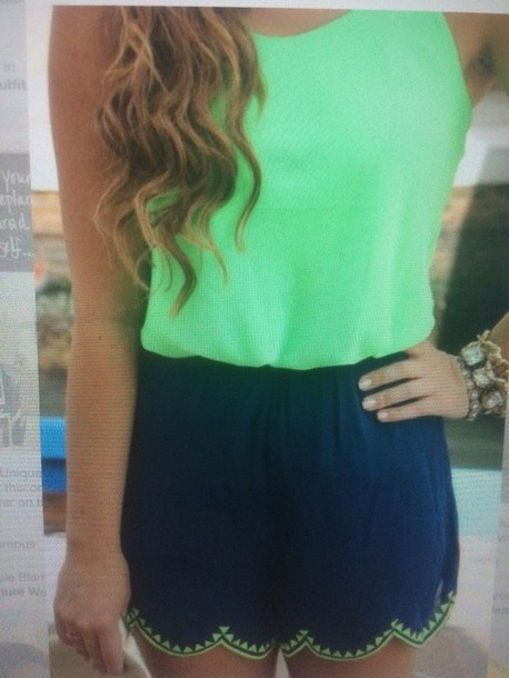 romper green and blue