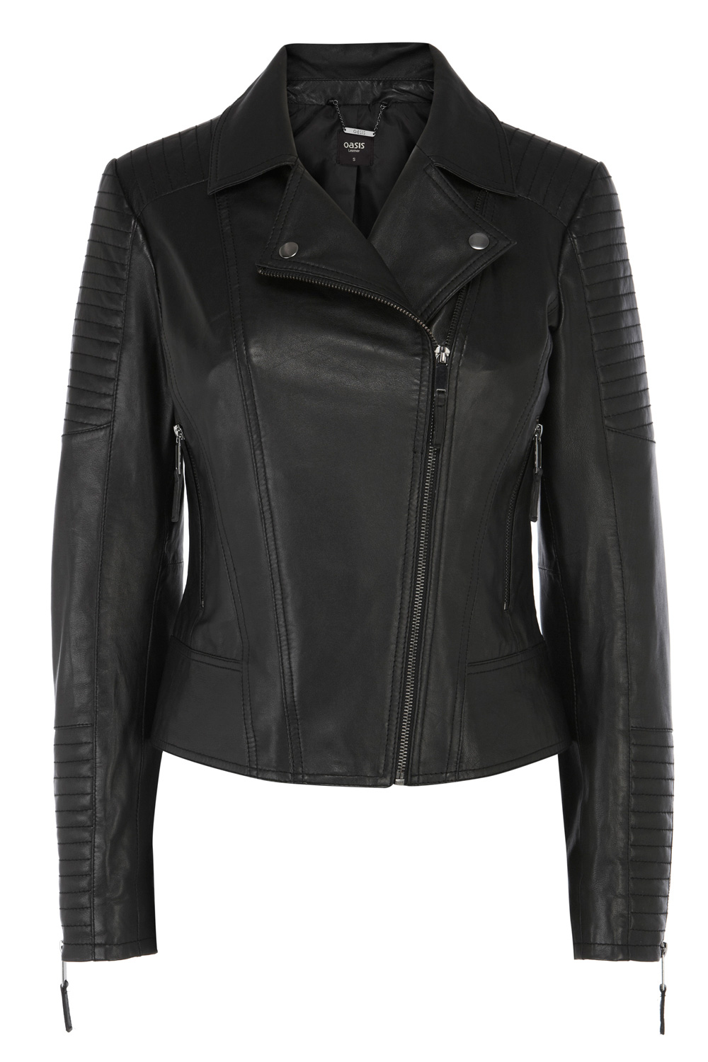 Quilted Leather Jacket | Black | Oasis Stores