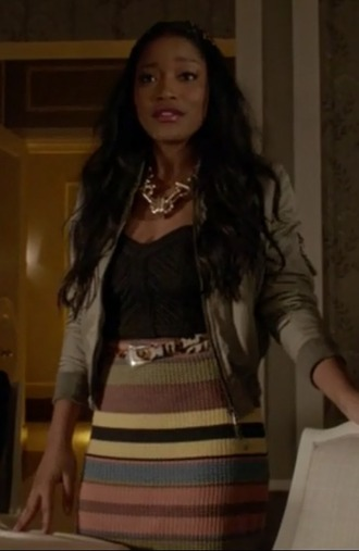 belt zayday williams keke palmer scream queens multi coloured skirt striped skirt green bomber jacket top jewels
