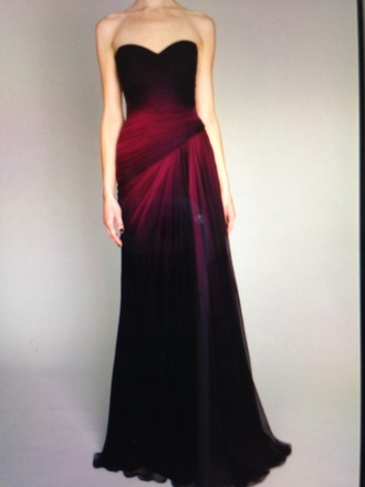 dress black to maroon long sweetheart neckline flows at bottom ball gown chiffon dress