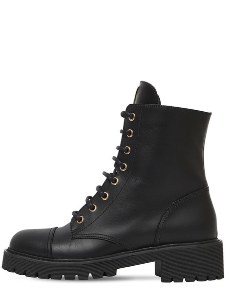 combat boots leather black shoes