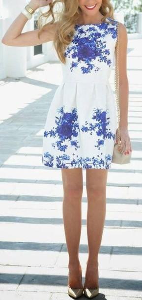 dress floral dress cute dress high neck white white dress blue dress flowers fashion blue flowers floral high neckline dress shoes