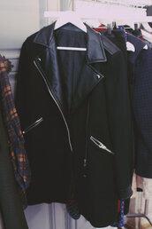 coat,leather piece,black coat