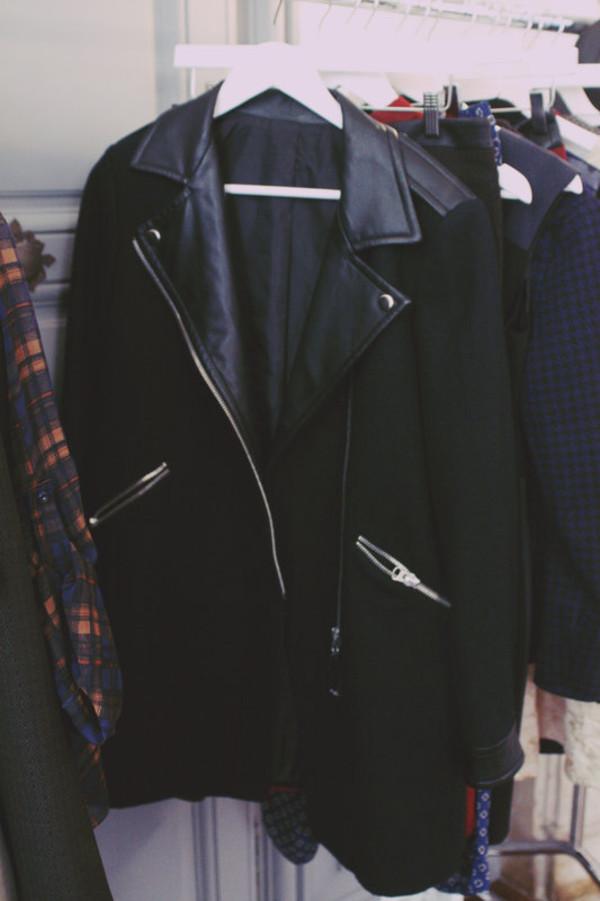 River island black leather biker trench coat