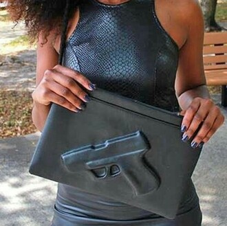 bag leather bag purse gun print