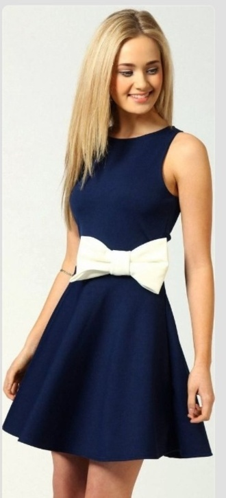 dress navy bow bows white bow navy dress bow dress cocktail dress trendy girly clothes gorgeous smile blue dress fit and flare white sleeveless skater dress blue white bows skater dress navy bridesmaid dress elegant prom dress