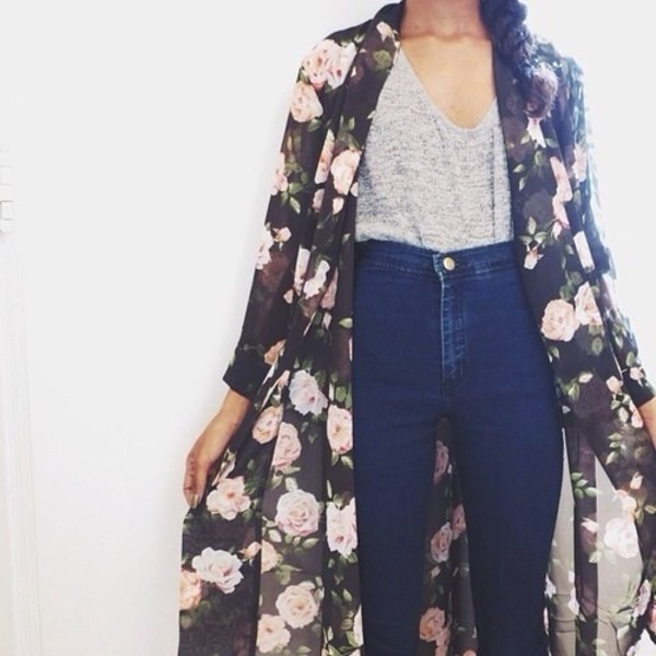 jacket cardigan flowers jeans coat t-shirt