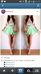 skirt,mint green skirt