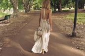 dress,backless dress,bow,tie back,maxi dress,white,cream,beige