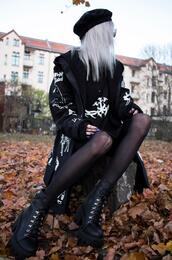 kimi peri,blackrush,blogger,coat,cardigan,dress,shoes,celebrity,fall outfits,goth,goth shoes,all black everything
