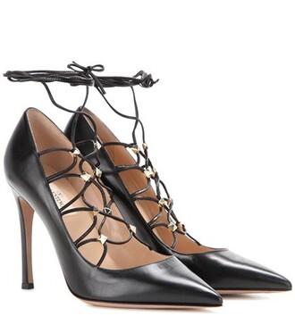 pumps lace leather black shoes