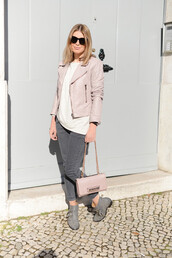 the working girl,jacket,jeans,jewels,bag,shoes,sunglasses,susanna boots,grey boots,ankle boots,pink jacket,top,white top,grey jeans,pink bag,cropped pants