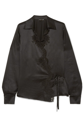 shirt lace black silk satin top
