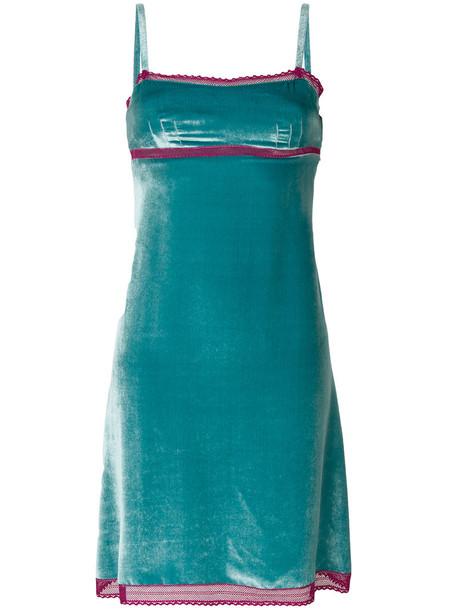 Alberta Ferretti dress women blue silk velvet