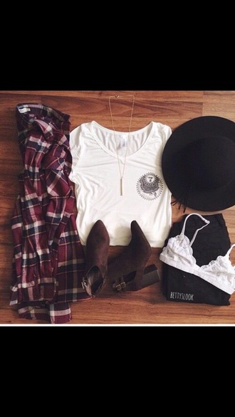t-shirt shirt grunge flannel hat black hat bra white bra lace lace bra boots heel boots v neck tumblr tumblr fashion tumblr girl