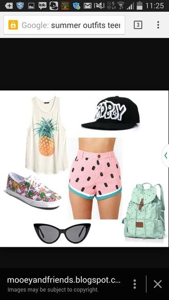 shorts watermelon shorts high waisted shorts